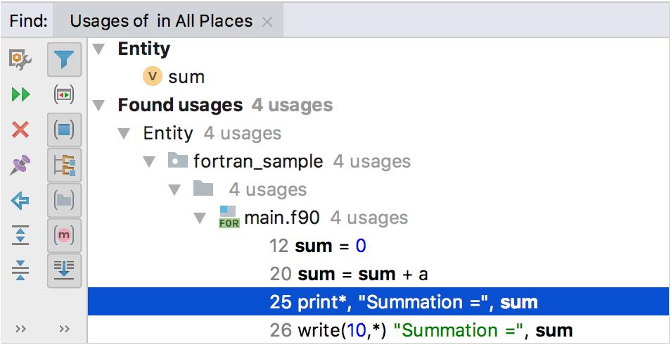Find Usages for Fortran