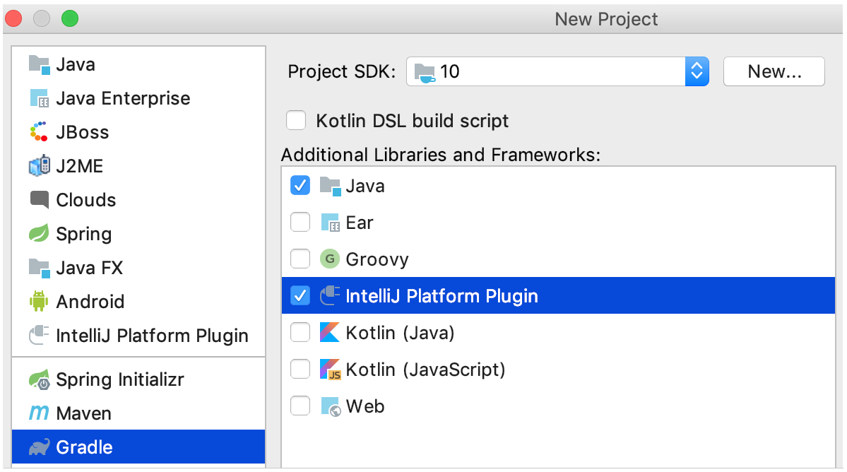 new gradle project for clion plugin