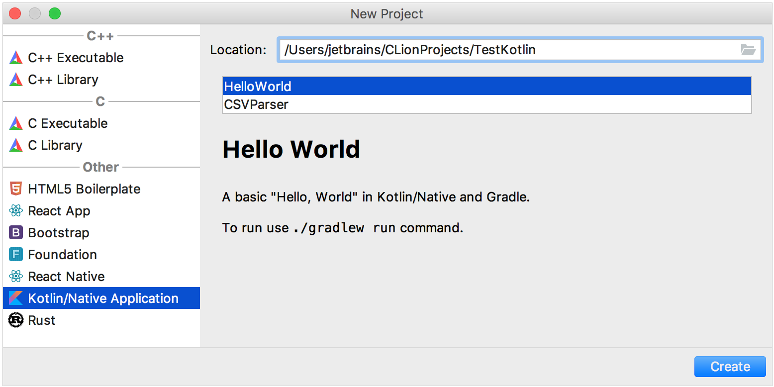 kotlin/native applications in clion