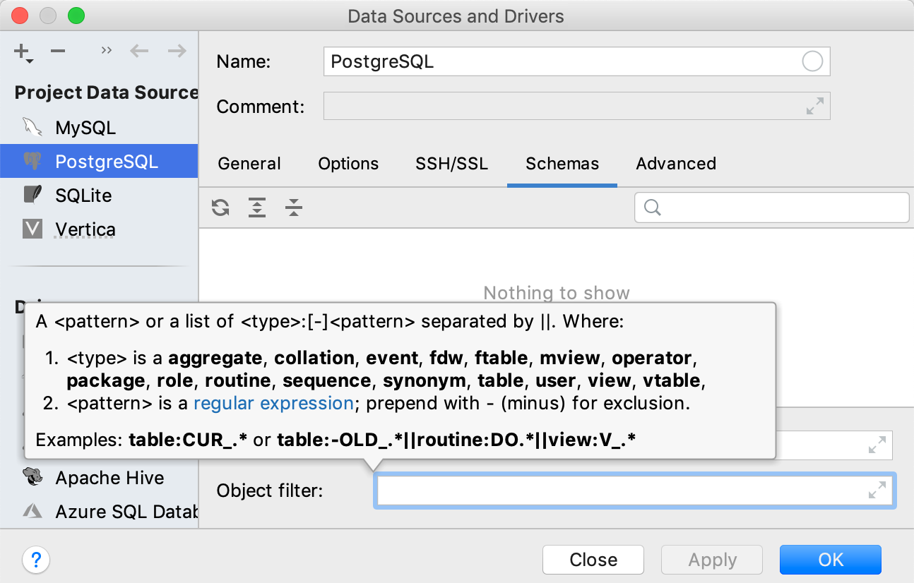 The Object Filter field in data source options