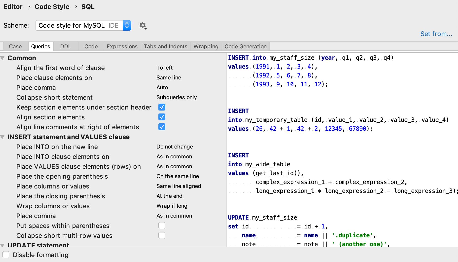 Code style settings