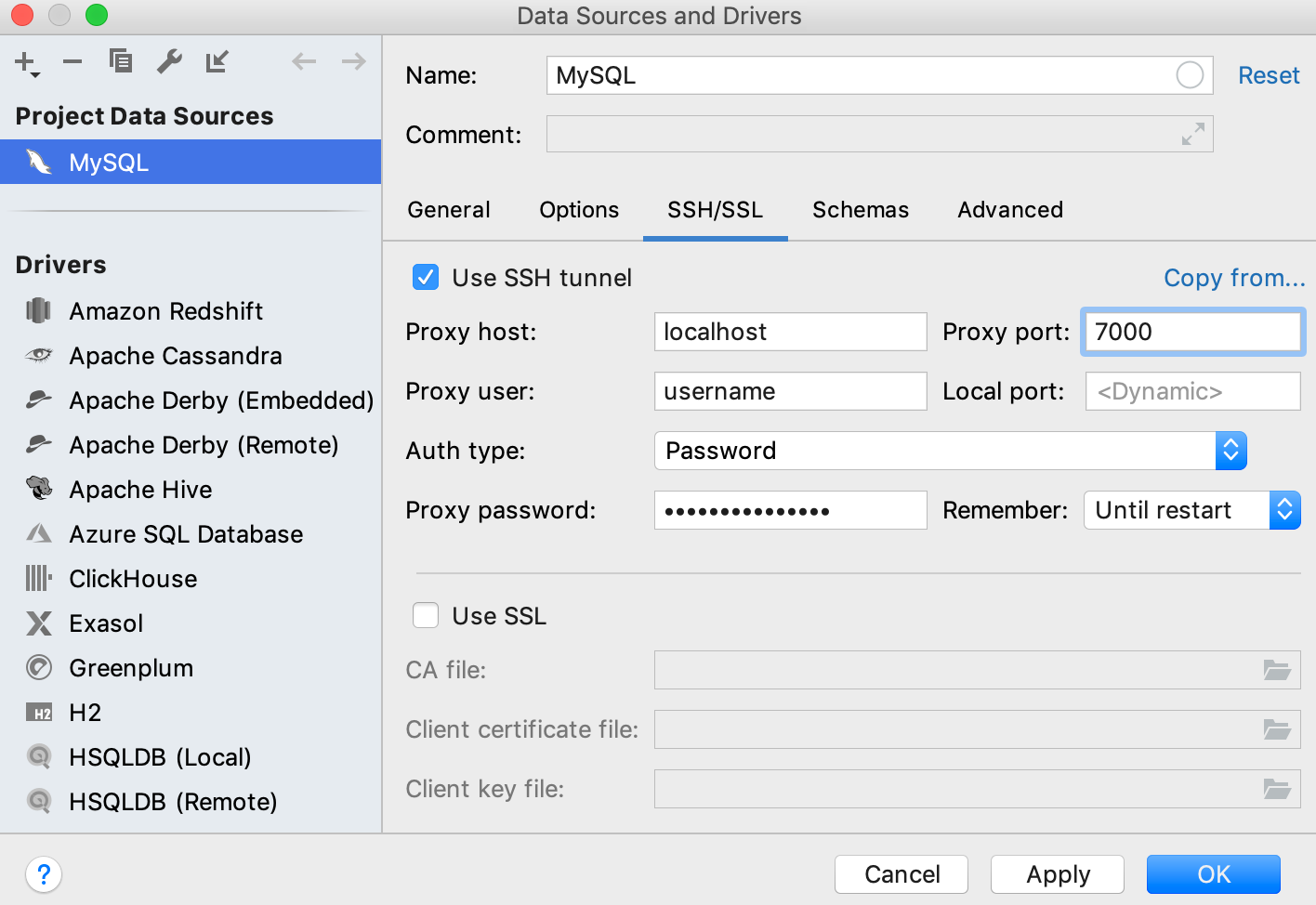 SSH and SSL settings of a data source