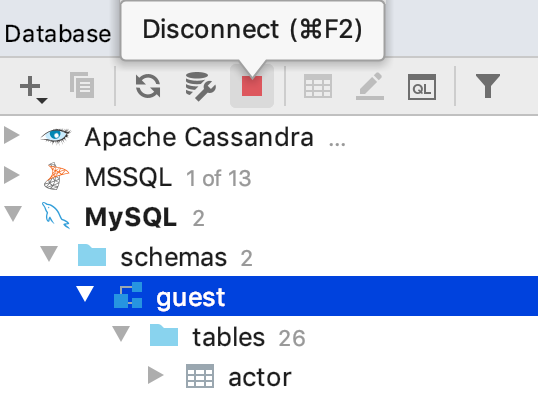 Close a database connection