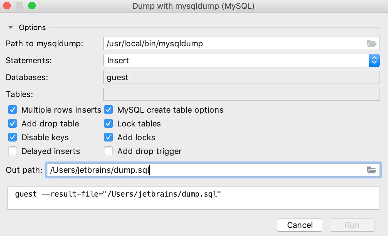 Dump data with mysqldump