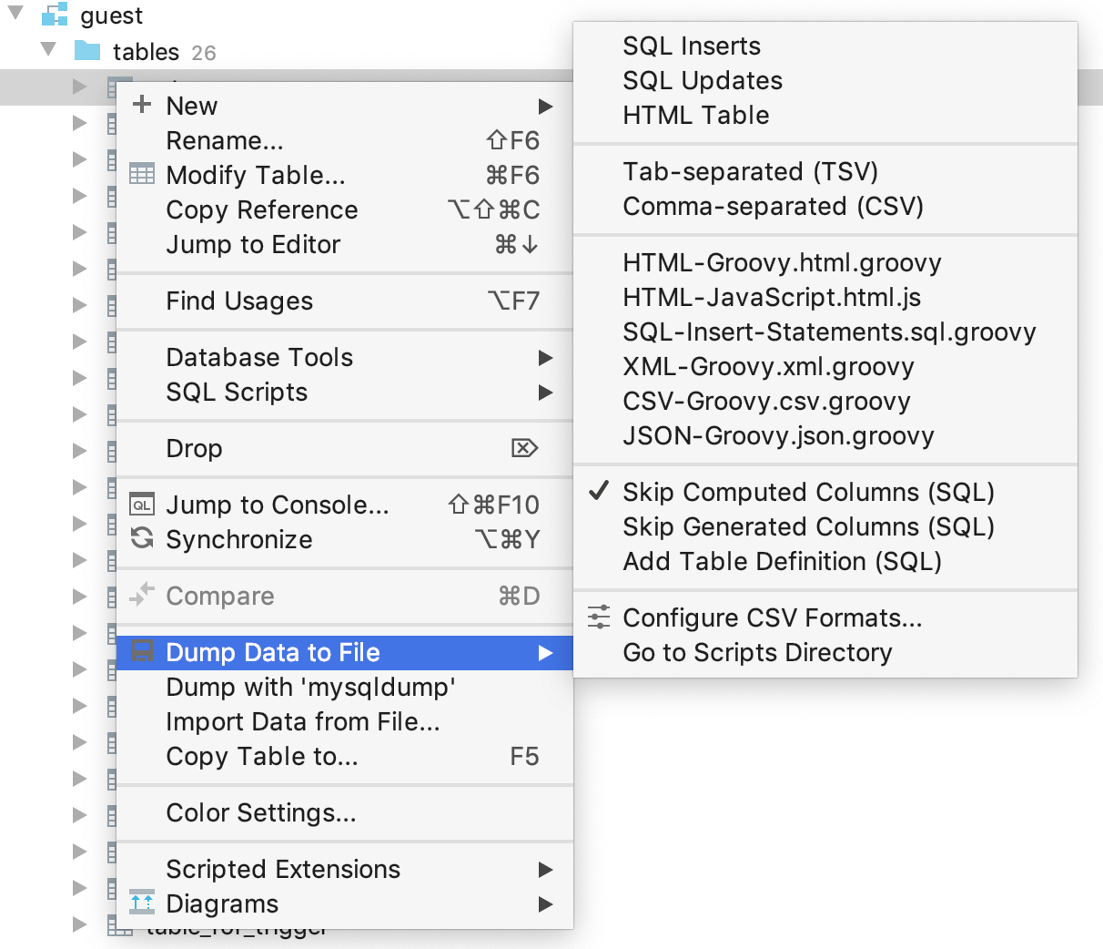 Export data into a file