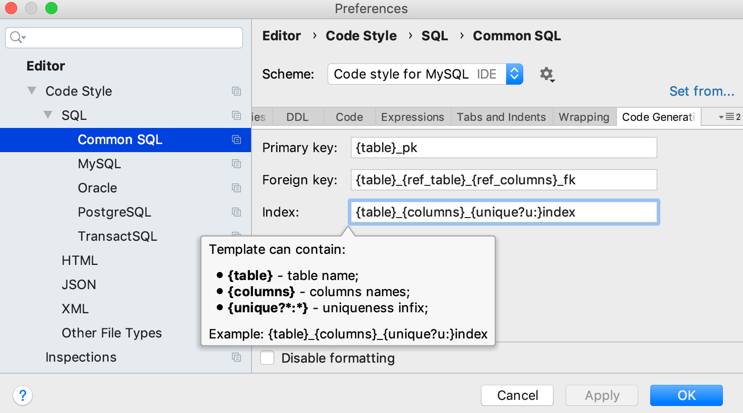 Modify templates          for generated index and key names