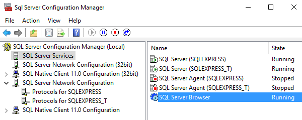 Ensure that the SQL Server Browser is running