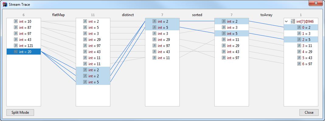 debug stream trace flat view