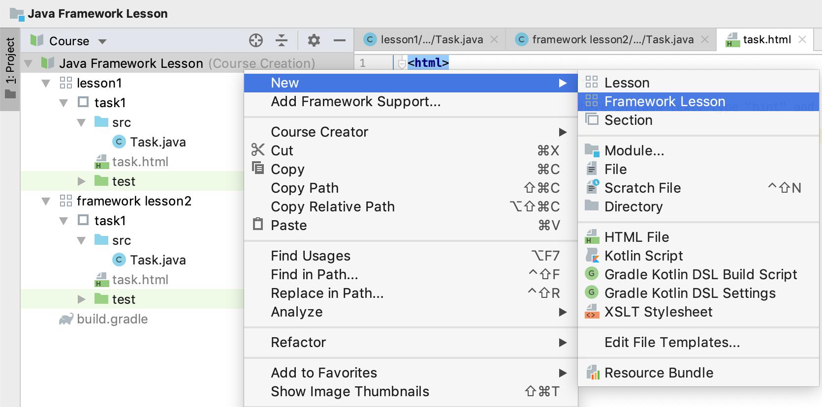 edu add new framework lesson java