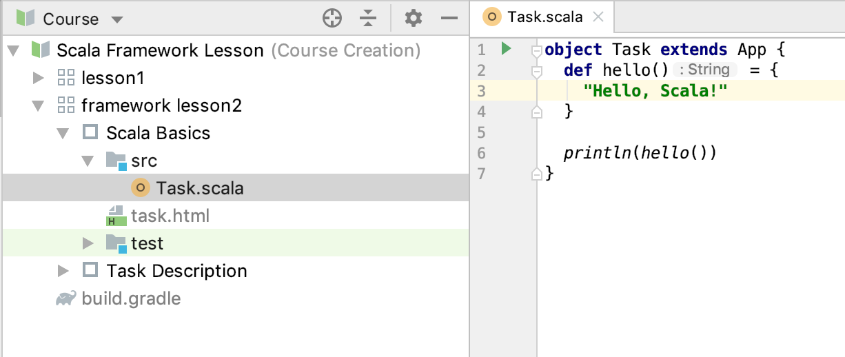 edu framework lesson task code scala