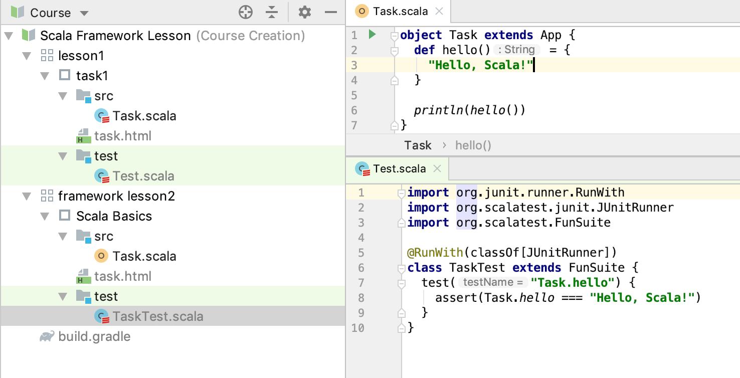 edu framework lesson test code scala