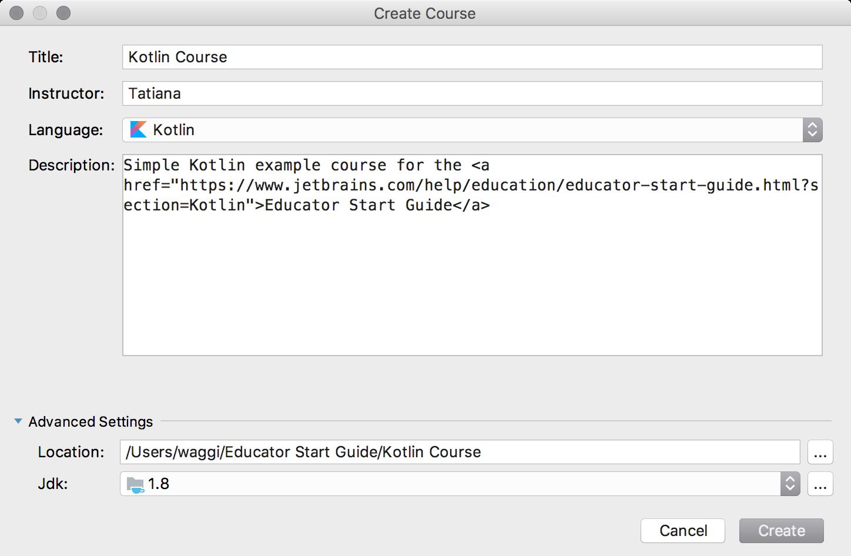 edu new course kotlin