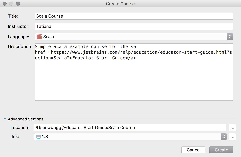 edu new course scala
