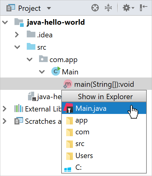 file path menu
