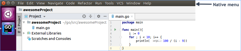 Linux native menu enabled for the IDE