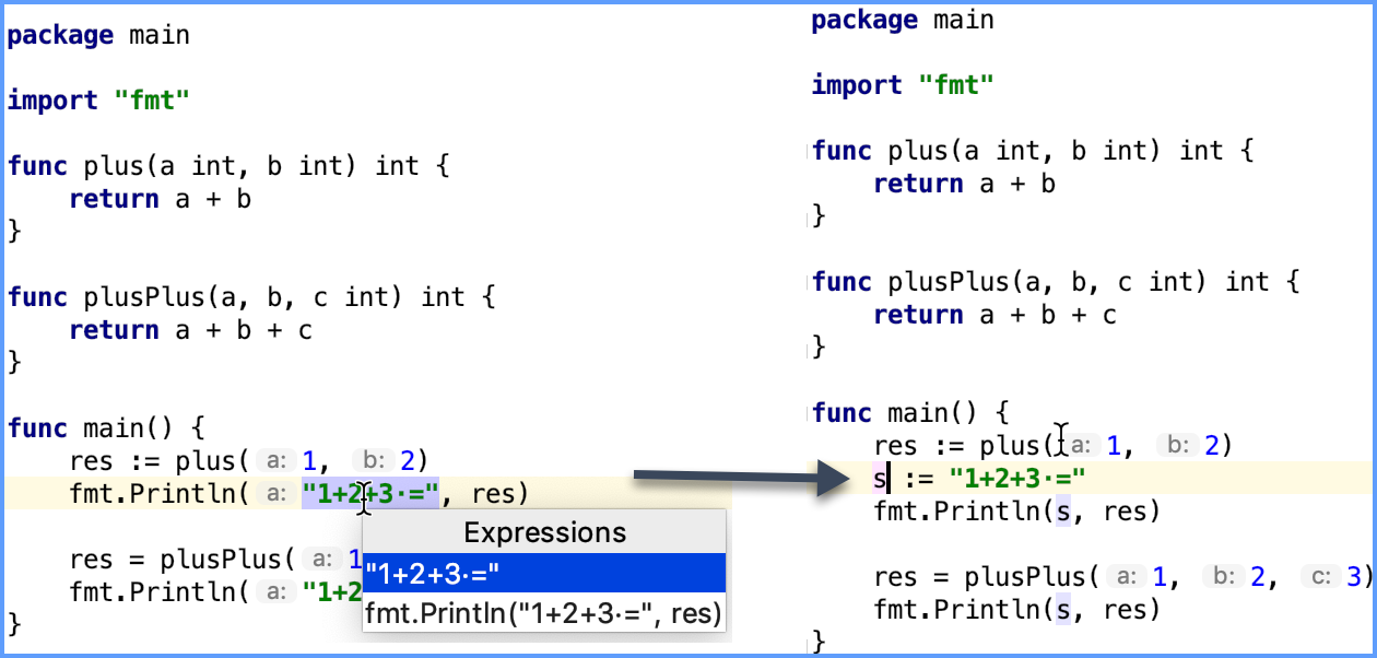 Example of the Extract a variable refactoring