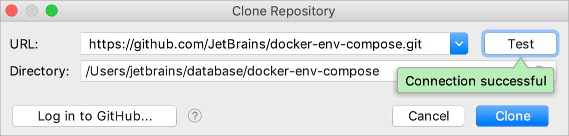 The Clone repository dialog