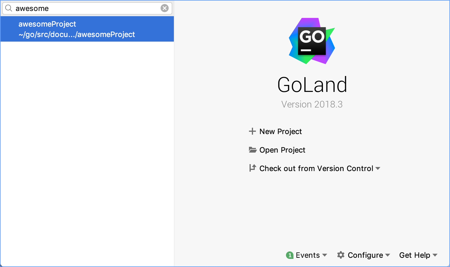 GoLand welcome screen