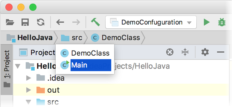 IntelliJ IDEA navigation bar