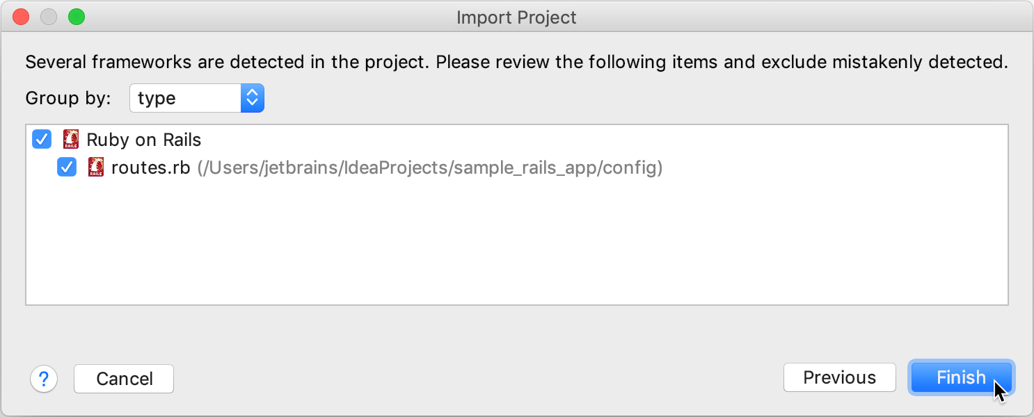Import Project wizard