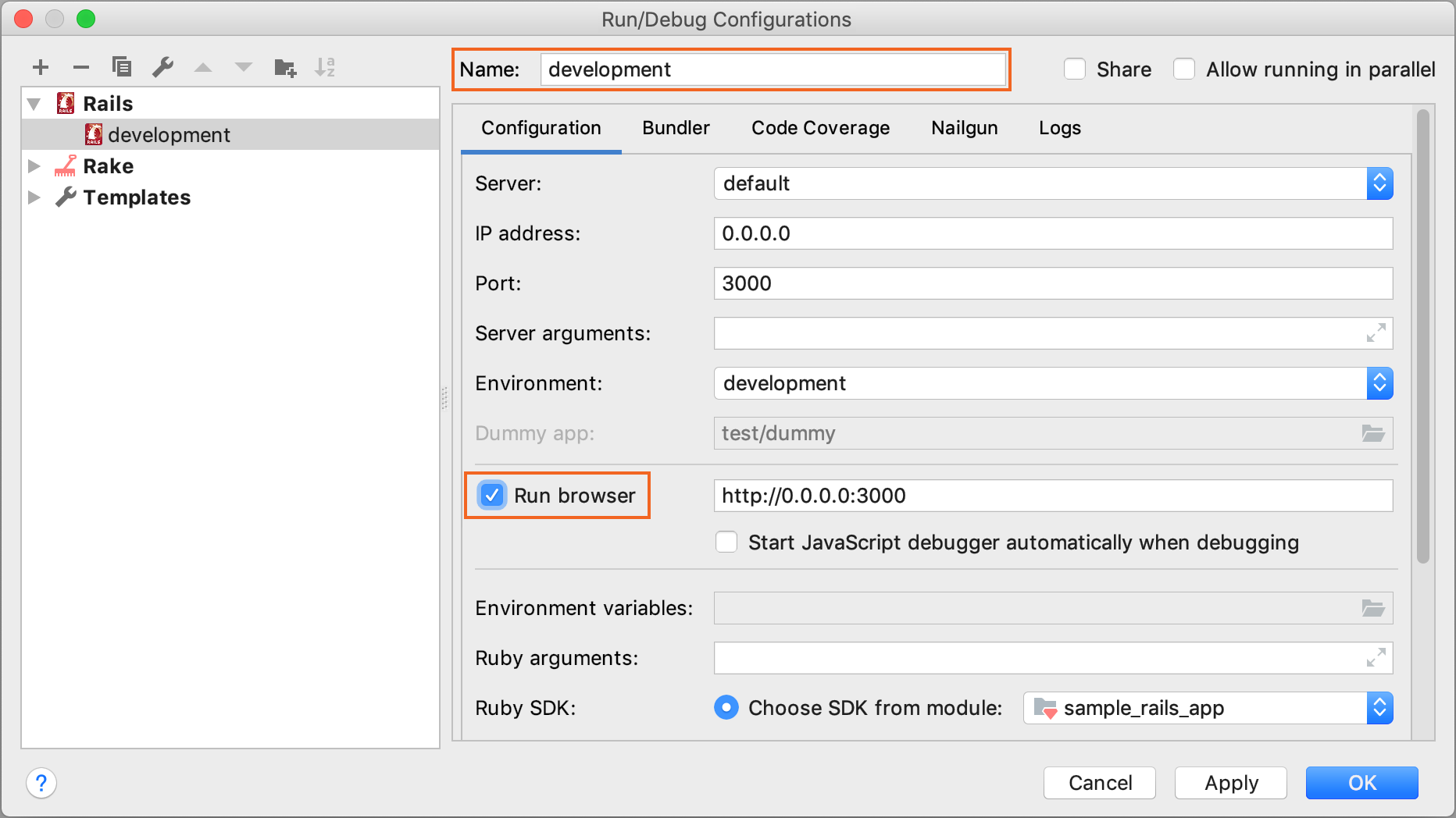 Run/Debug Configurations dialog