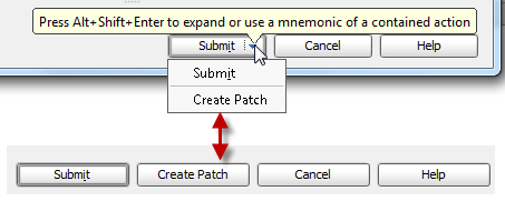 Comparing a dialog with merged buttons with a regular dialog
