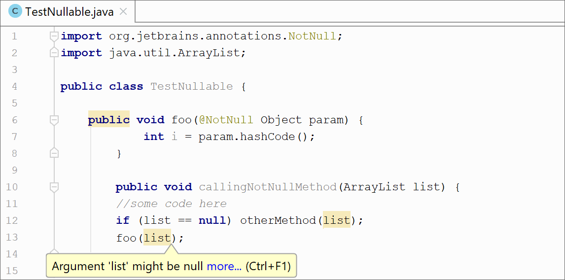 arraylist as parameter java