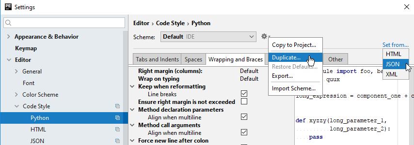 Set code style