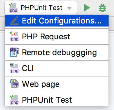 Running tests with a run configuration: select the run configuration