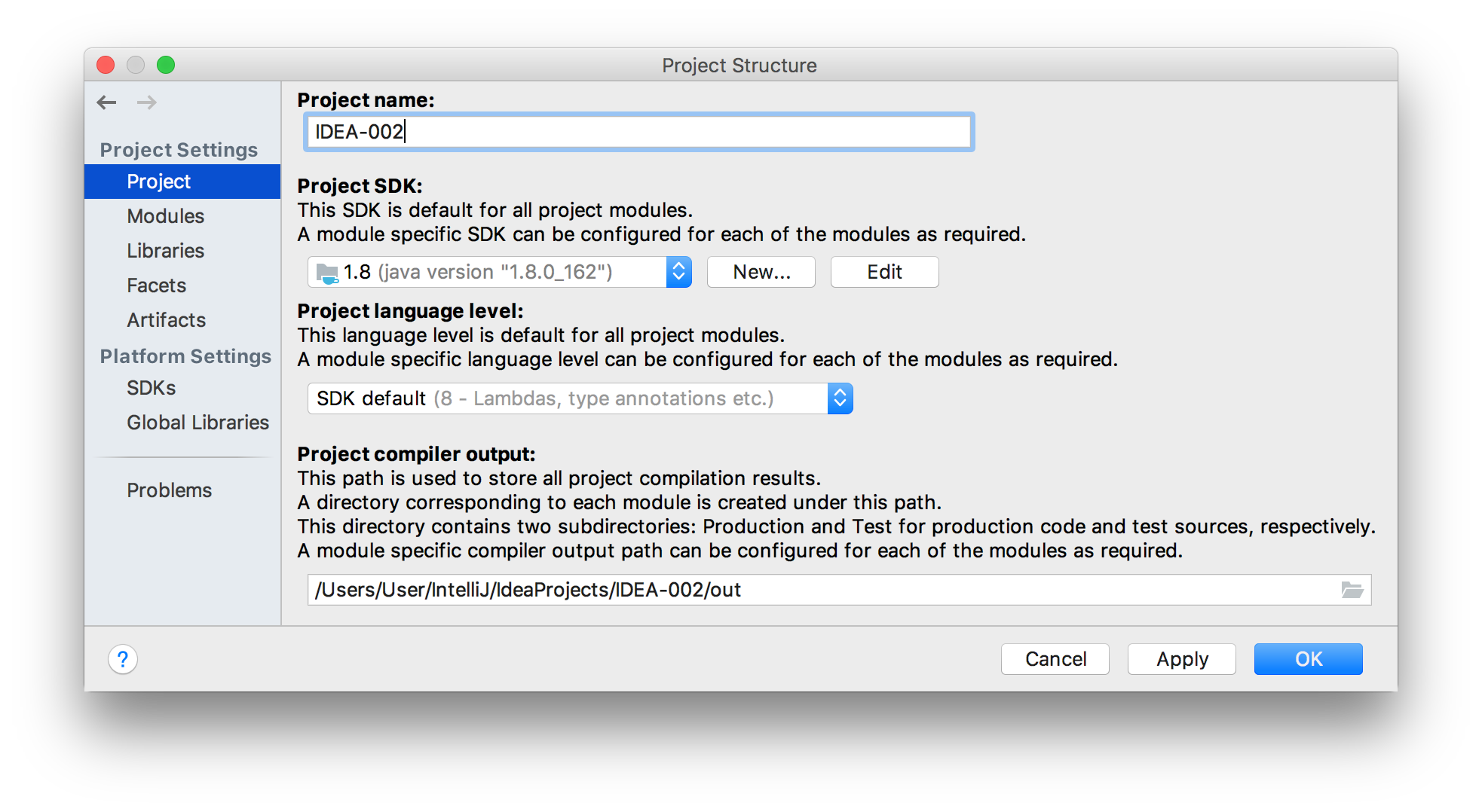 The Project tab of the Project Structure dialog
