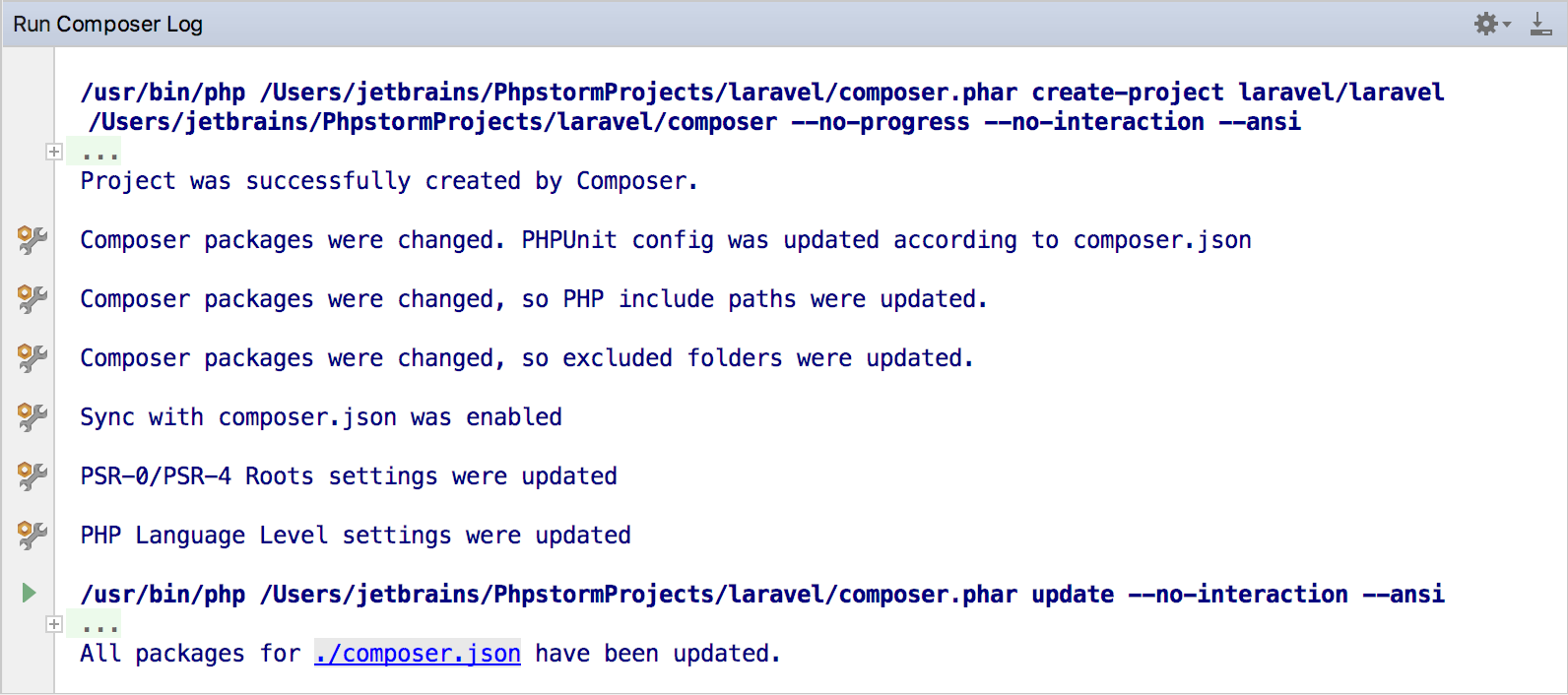 the Composer Log console