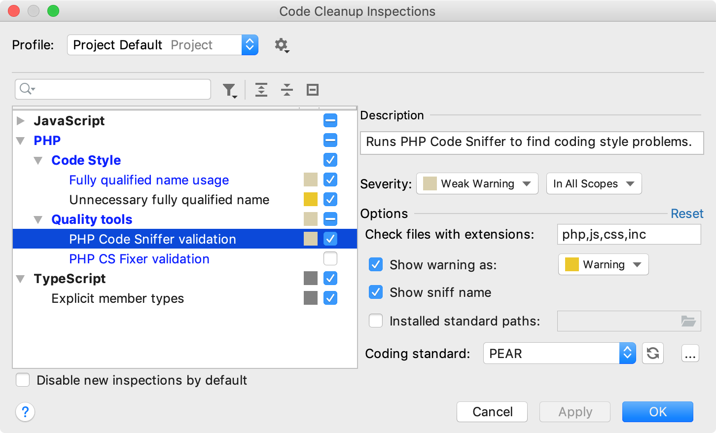the Code Cleanup Inspections dialog