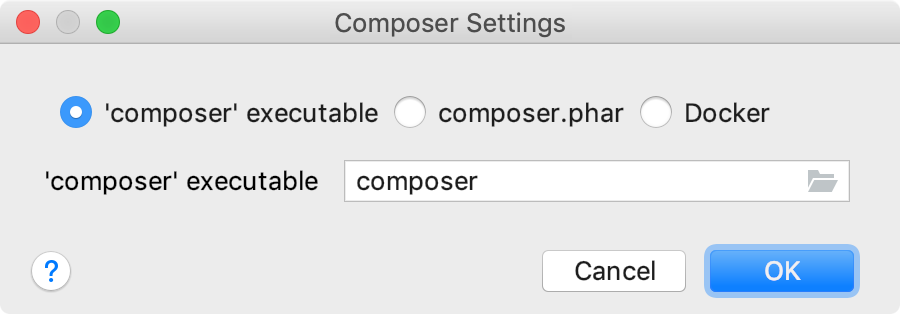 the Composer Settings dialog