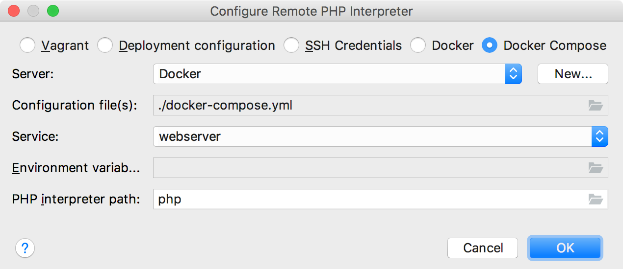 Remote interpreter via Docker Compose dialog