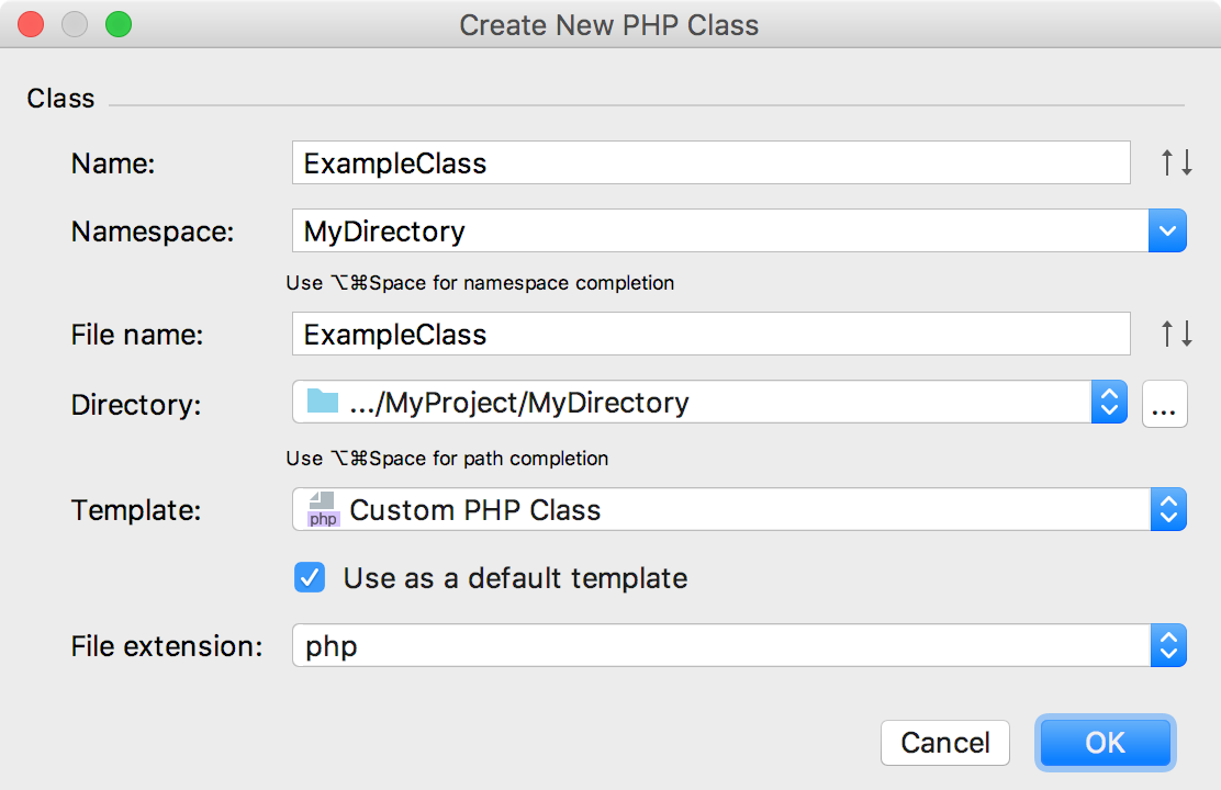 Create New PHP Class dialog