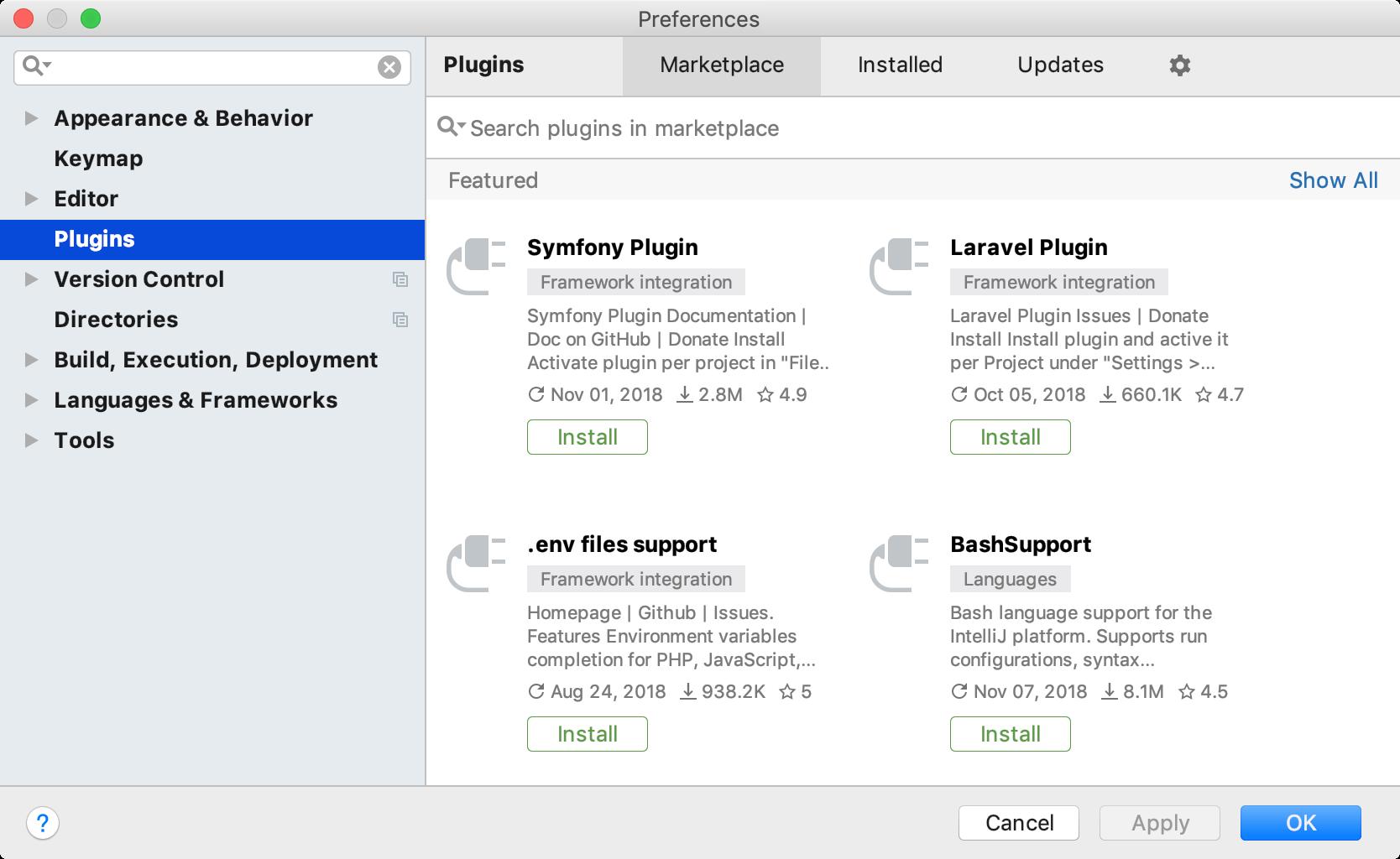 The Plugins settings dialog