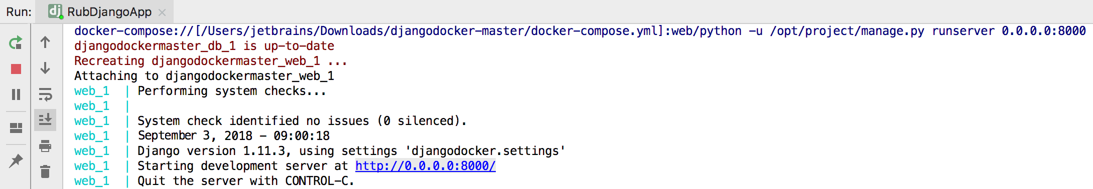 Docker compose run