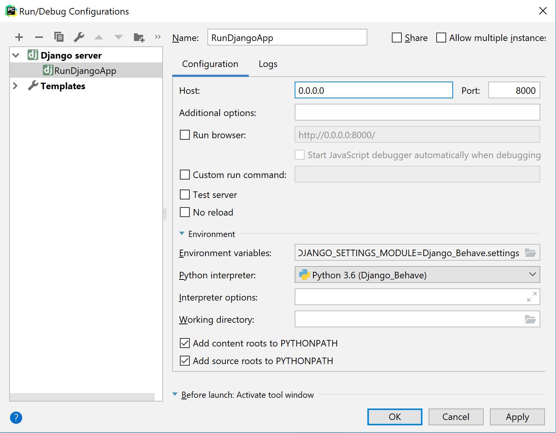 Run/Debug configuration for a Django server