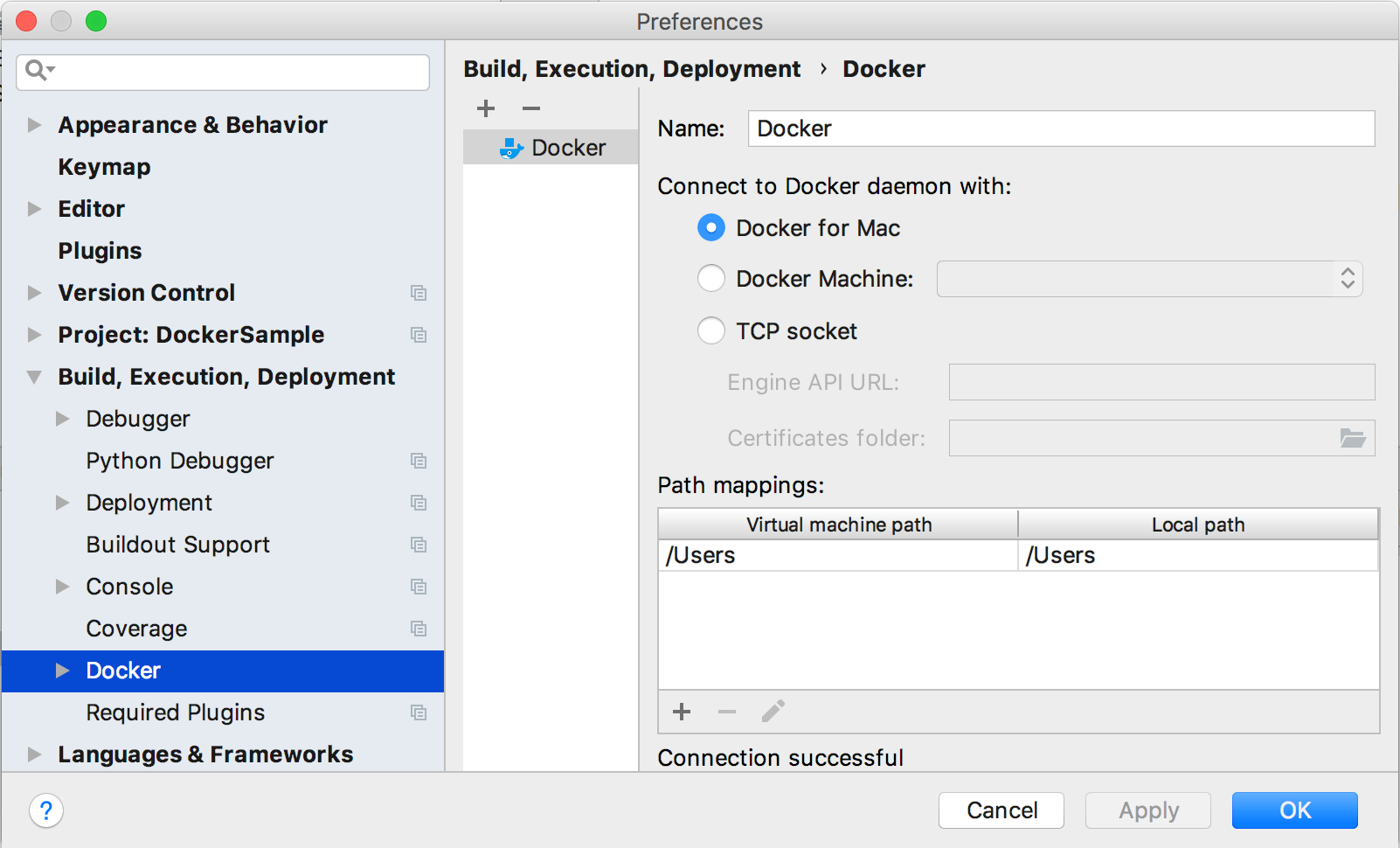 Docker settings