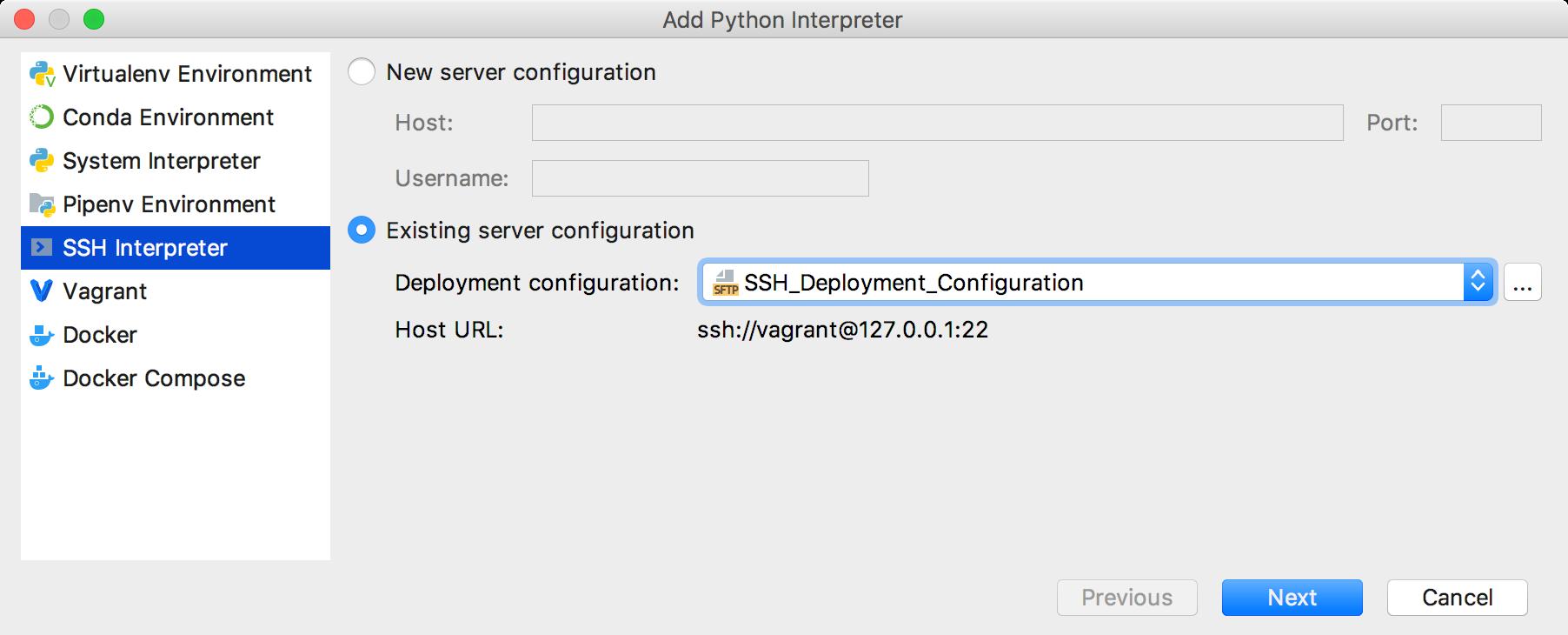 Existing SSH configuration