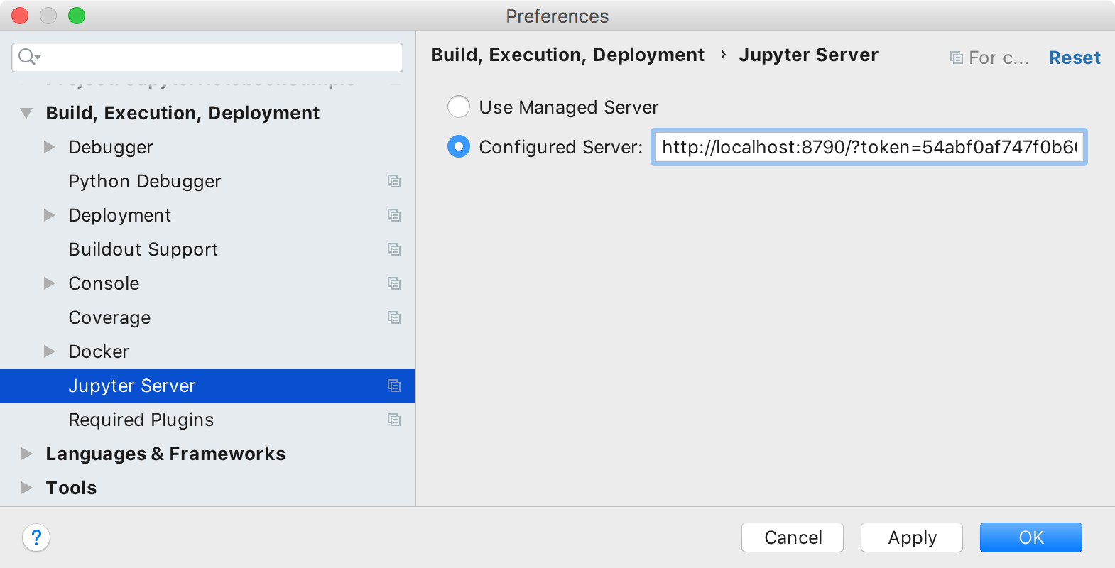 Configure a Jupyter server. Settings dialog