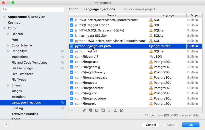 Language injection settings
