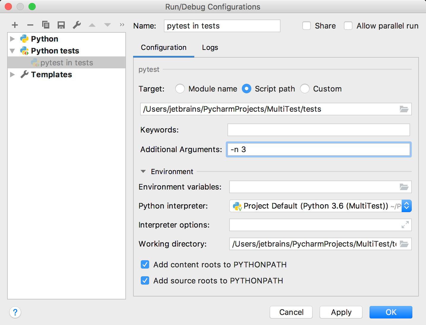 Editing Run/Debug configuration for a group of pytest tests