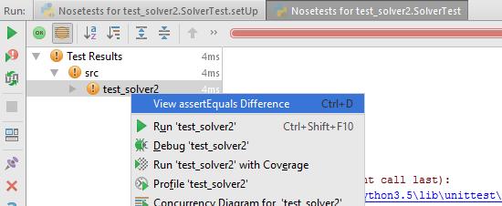 Failed test: assertEqual