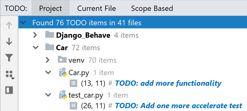The TODO tool window