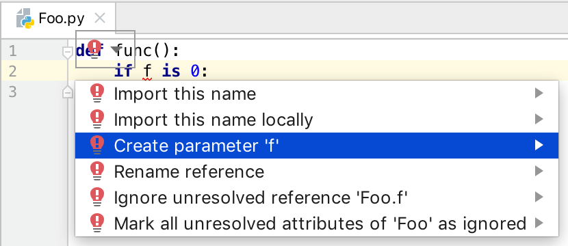 Available fixes for an unresolved reference