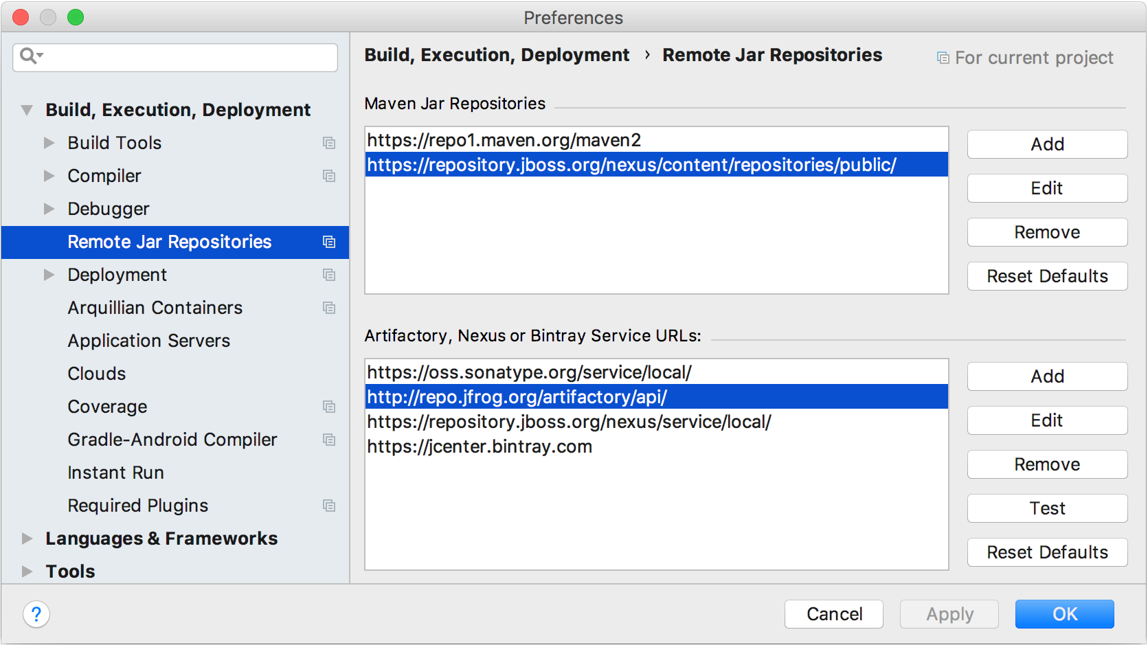 Configuring custom remote repository