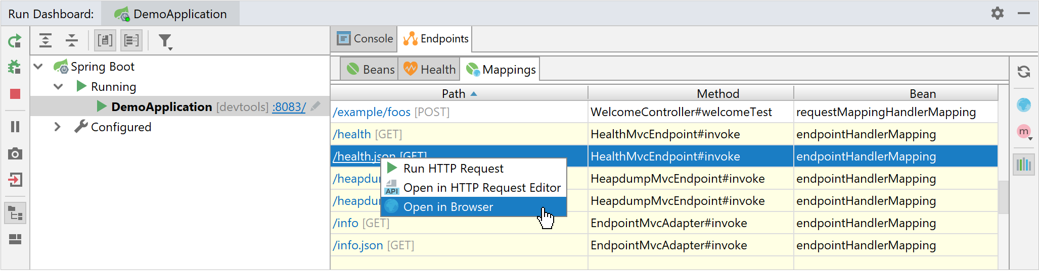Opening HTTP request mappings from the Run dashboard