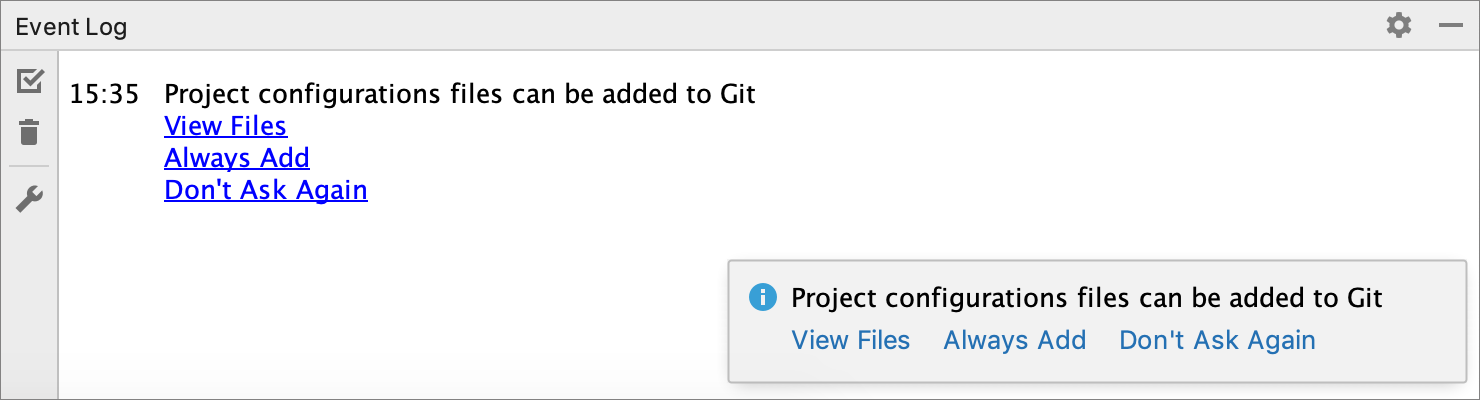Notification prompting to select how to treat                     configuration files