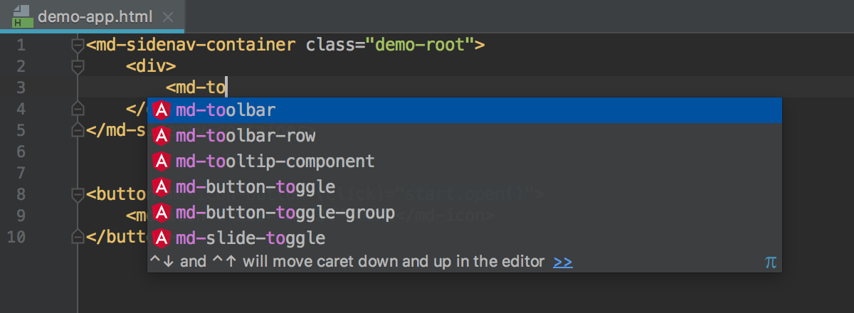 A list of suggested completion variants for an Angular component